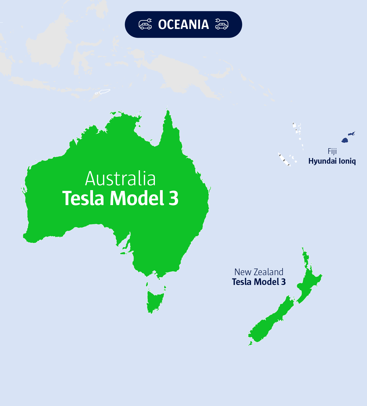 An image of Oceania's electric vehicles.