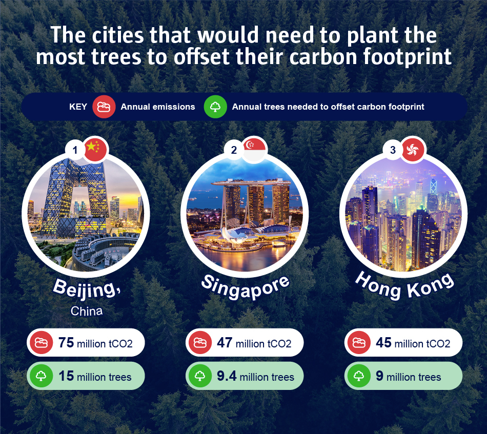 The cities that would need to plant the most trees to offset their carbon footprint