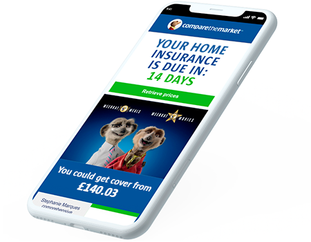 An iPhone with Meerkats displaying renewal costs.
