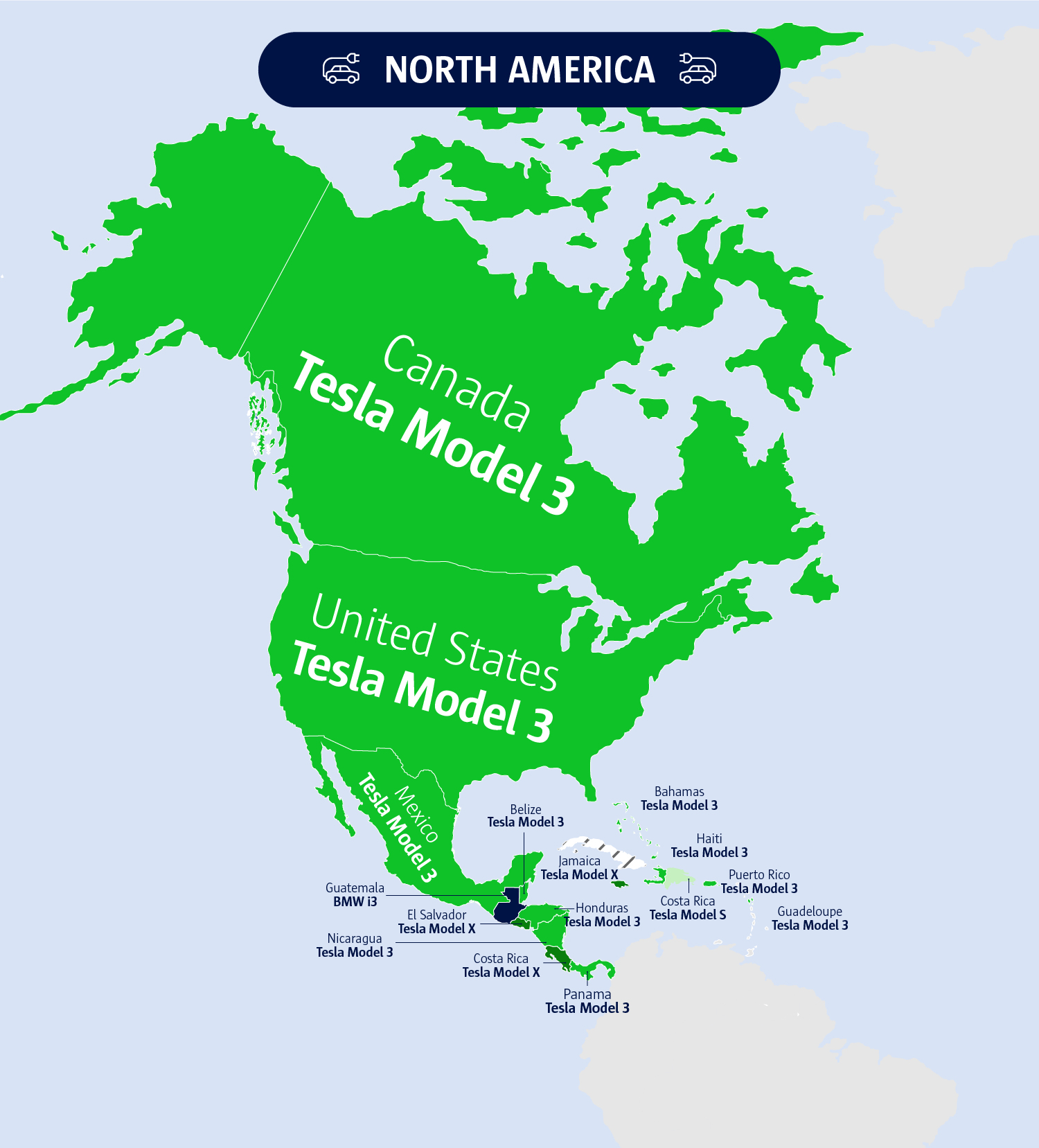 An image to show North America's electric vehicles.