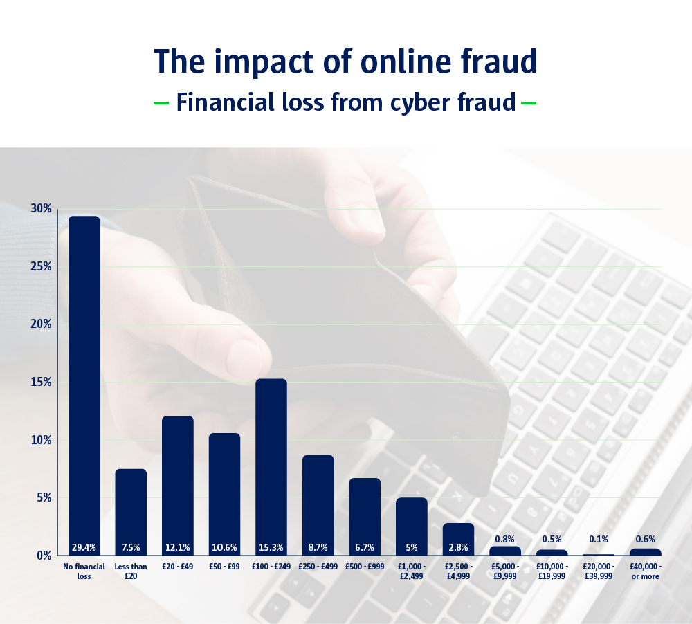 A bar chart to show the impact of online fraud, financial loss from cyber fraud.
