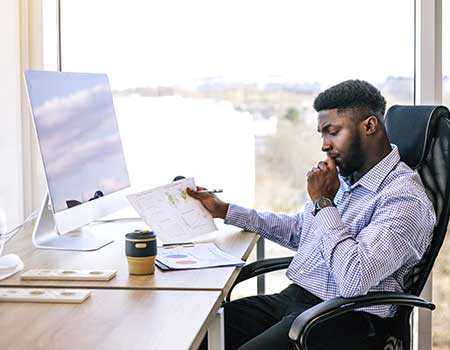 An accountant working at their desk