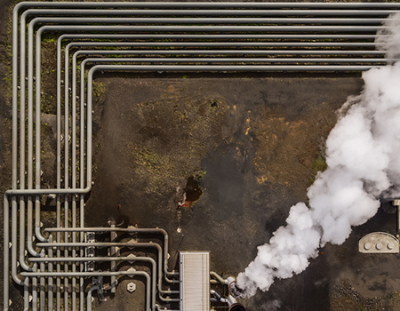 Aerial-Steaming pipes at The Hellisheidi Geothermal Plant, Iceland