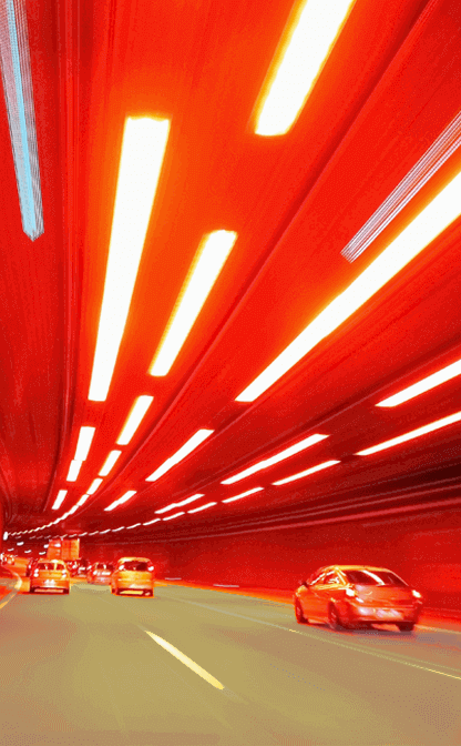 Cars going through a tunnel