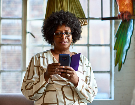 A woman using her smart phone