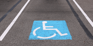 Disables parking spot in a car park