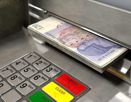 Close up of a cash withdrawal