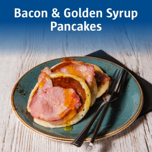 Bacon and golden syrup pancakes.