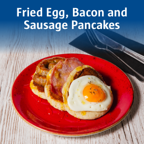 Fried egg, bacon and sausage pancakes