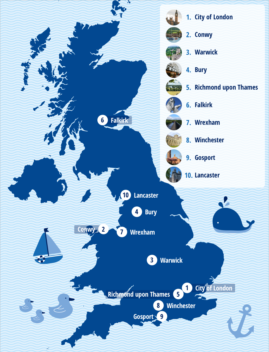 A map to show the top ten locations for UK babymoons.