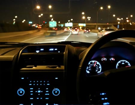 Driving on the motorway at night