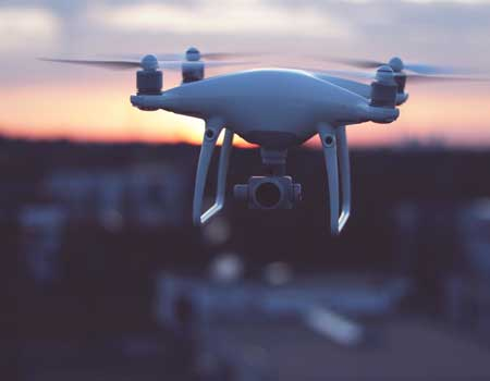 Drone in the air during the evening