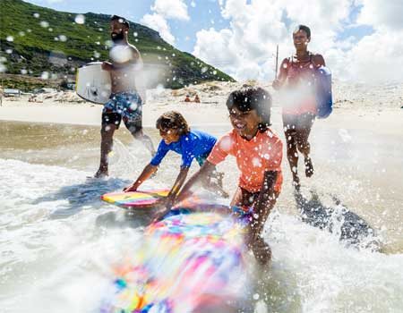 Family going surfing