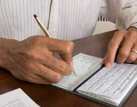 Writing up a cheque