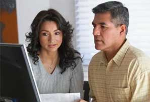 Couple looking at a current account