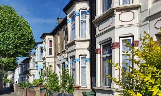 Row of houses in the sunshine