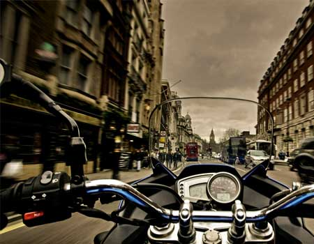 First person view of a motorbike