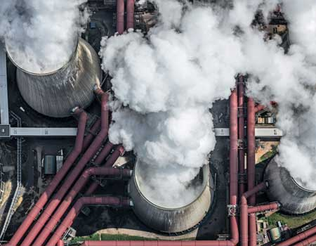 Overhead view of a powerplant