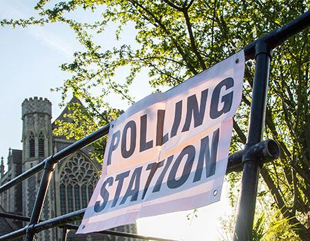 Polling station in London, UK