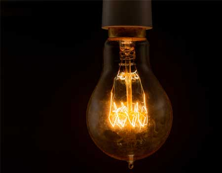 Dim lightbulb about to switch off