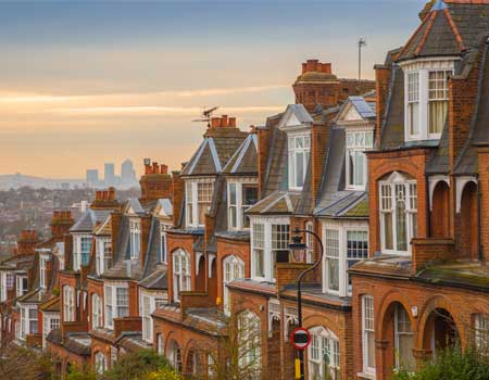 Row of houses in the UK