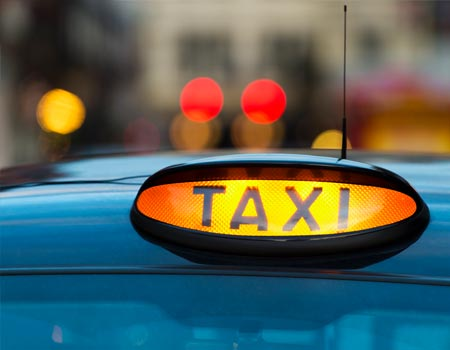 Taxi sign in the UK