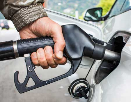 Filling up car with diesel