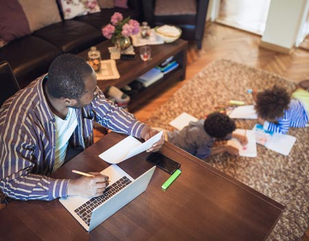 Working from home with children in the living room
