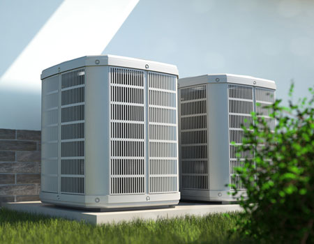 Picture of air heat pumps outside house