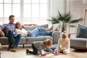 An image of a family in their home.