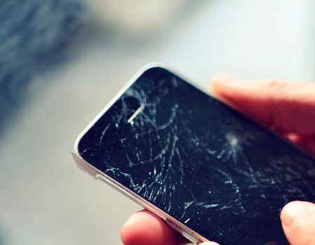 A picture of a cracked phone