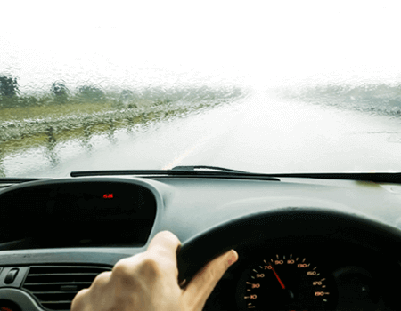 Driving in wet conditions.