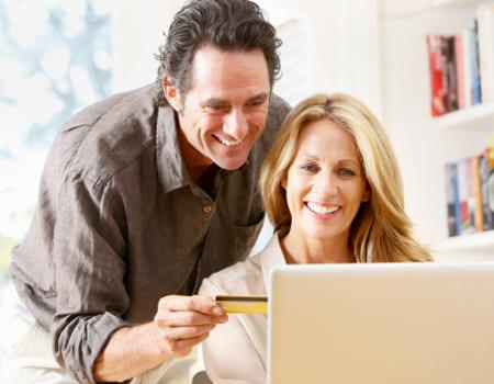 Couple looking at their credit rating