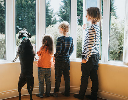 Children and dog looking out of window during house viewing
