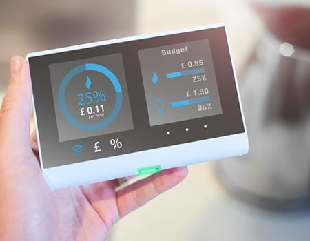 person checking home energy costs on smart meter