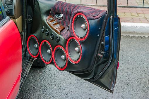 Speakers in a car