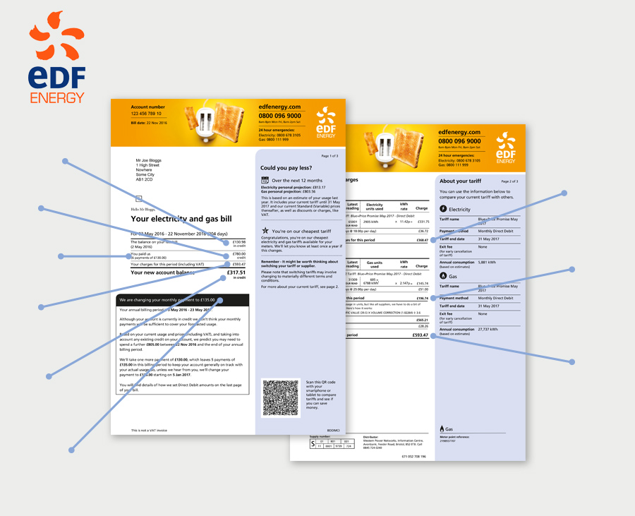 example of an EDF energy bill